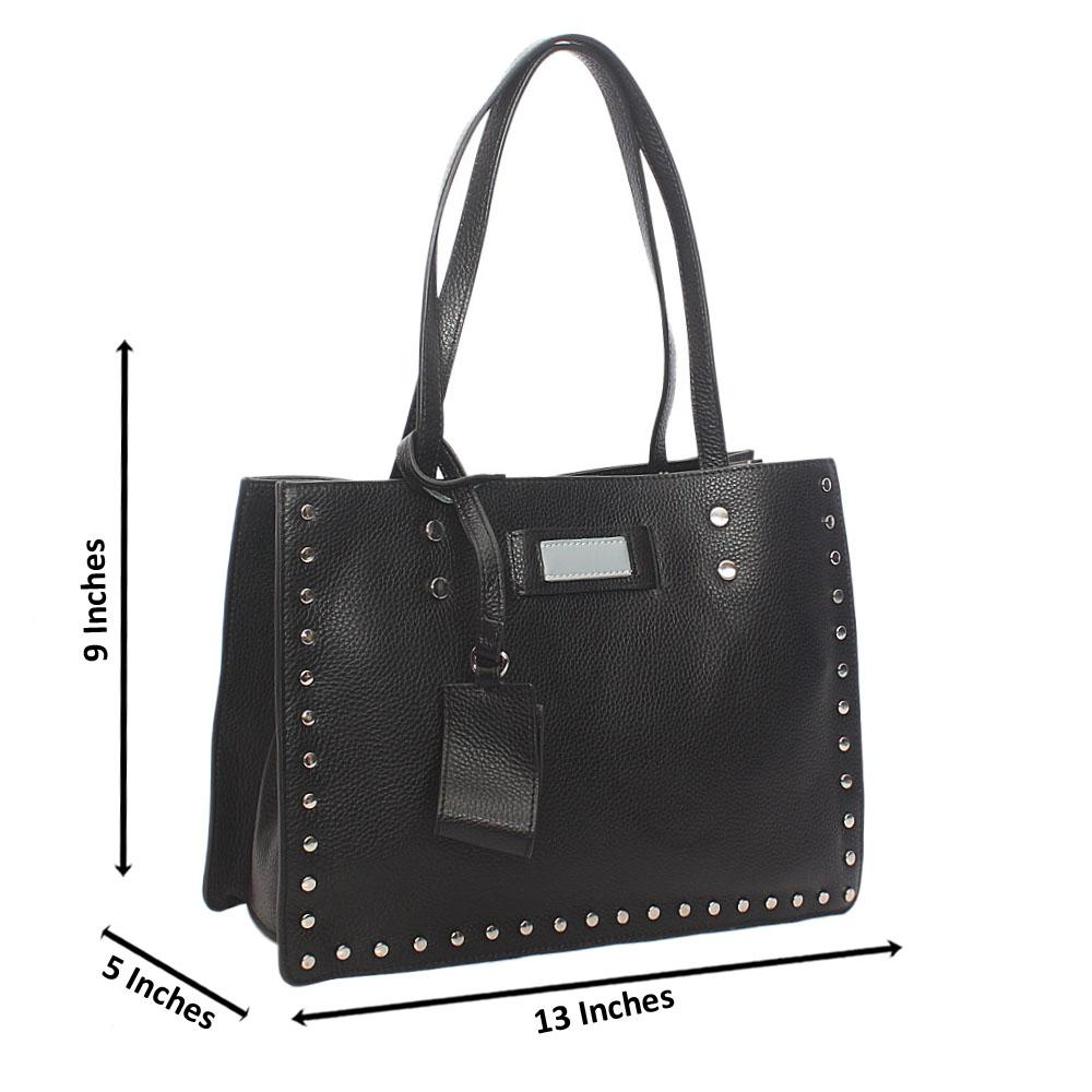 Black Studded Shoulder Tuscany Leather Handbag