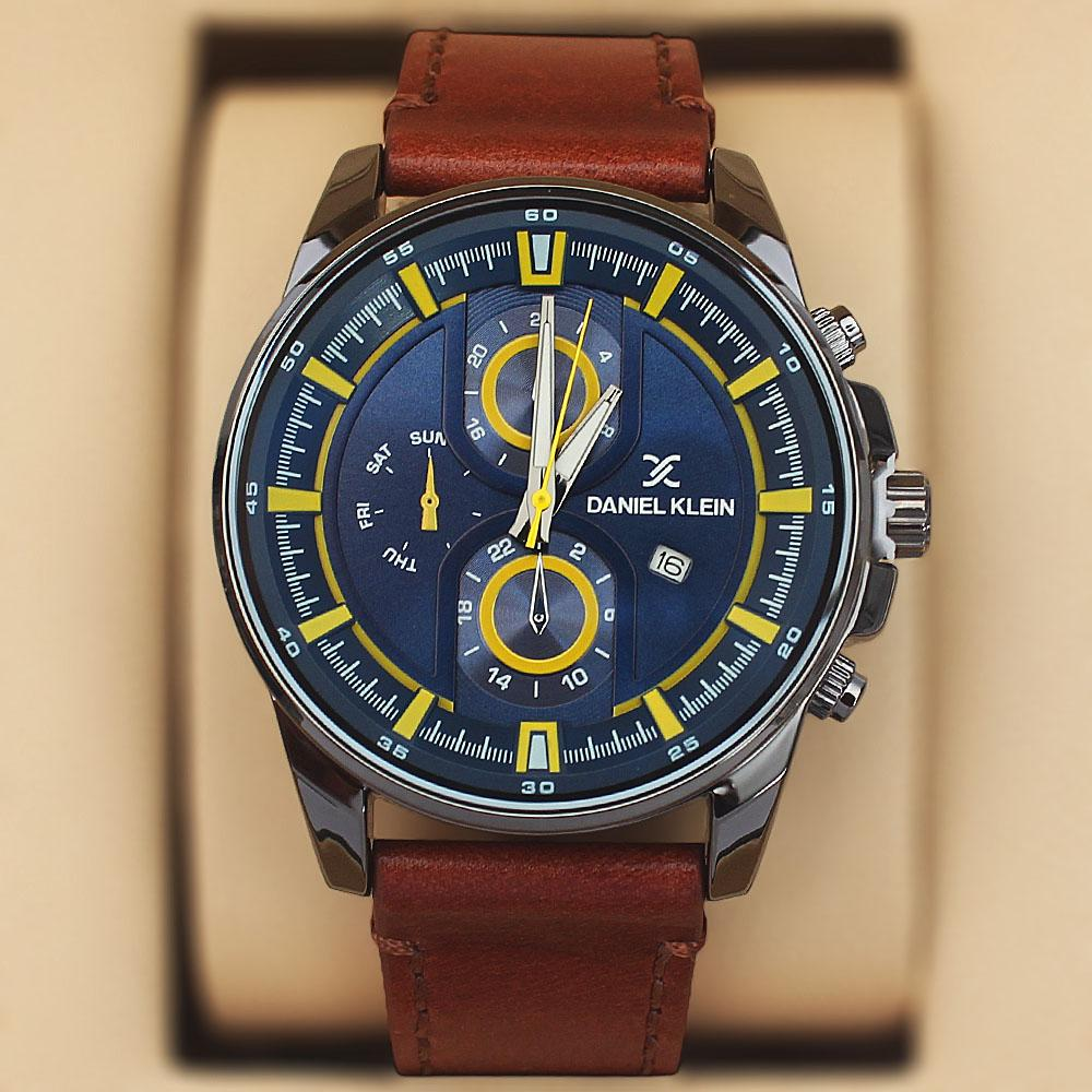 Daniel Klein Miles Brown Leather Pilot Series Watch