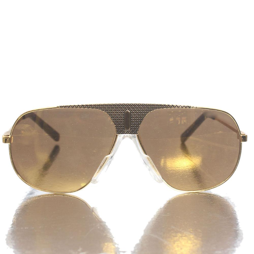 Gold Black Shield Gold Reflective Lens Sunglasses