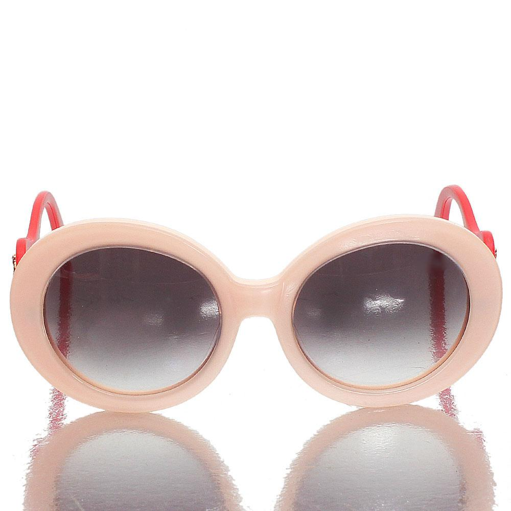 Red Pink Round Eye Dark Lens Sunglasses