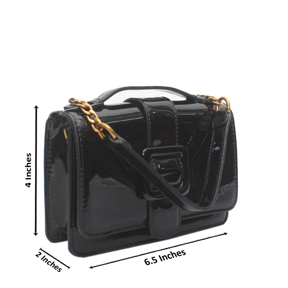 Black Patent Leather Small Crossbody Bag