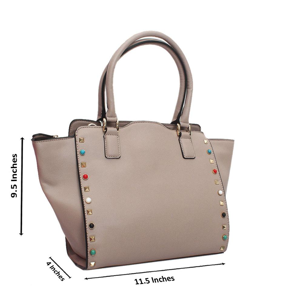 Beige Leather Medium Handbag