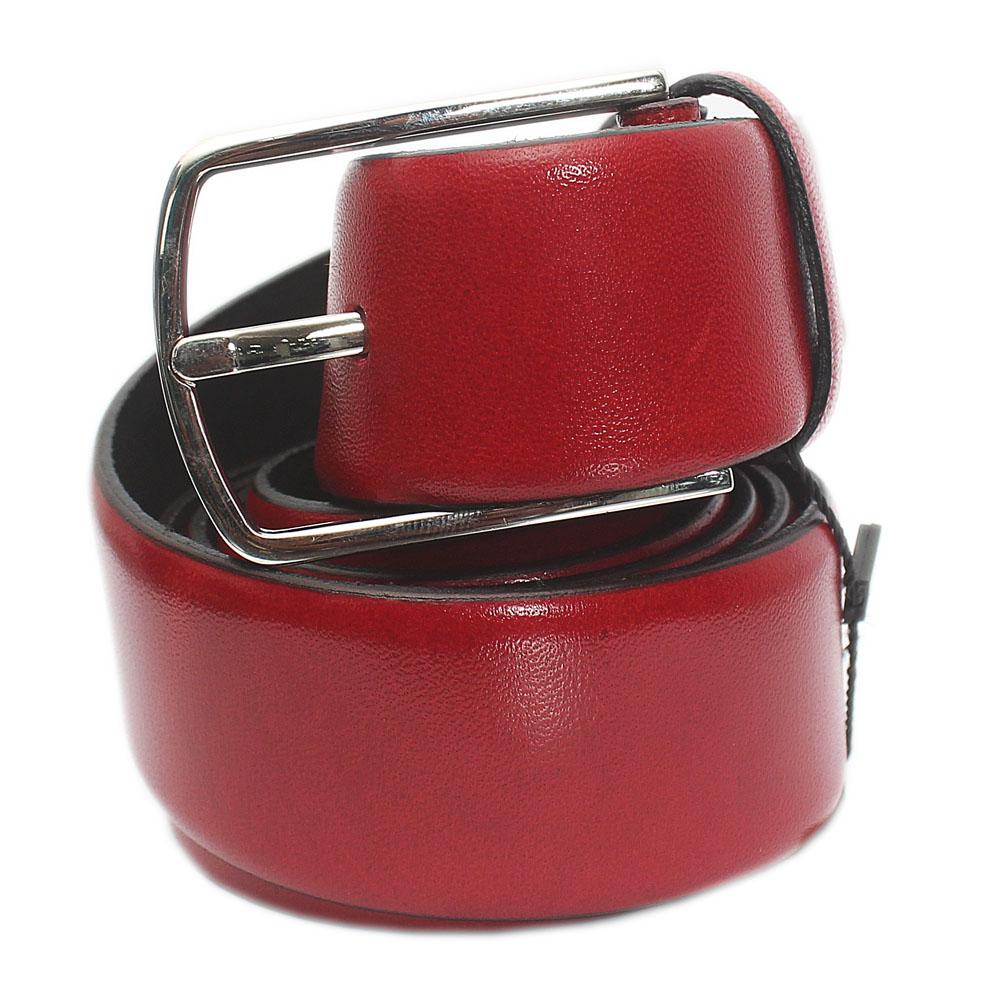 Red Italian Leather Flat Belt L 48 Inches