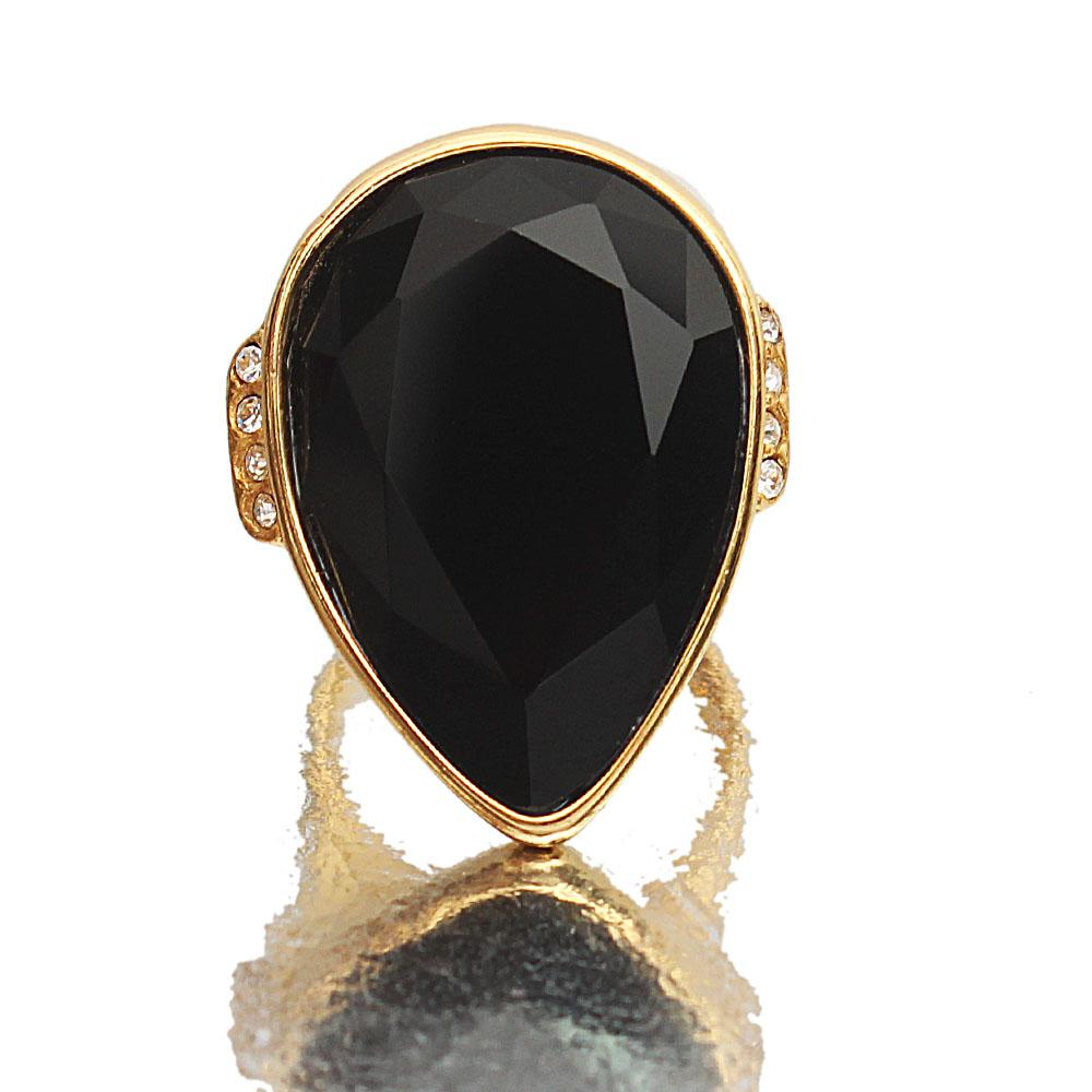 Gold Steel Black Classic Ladies Ring