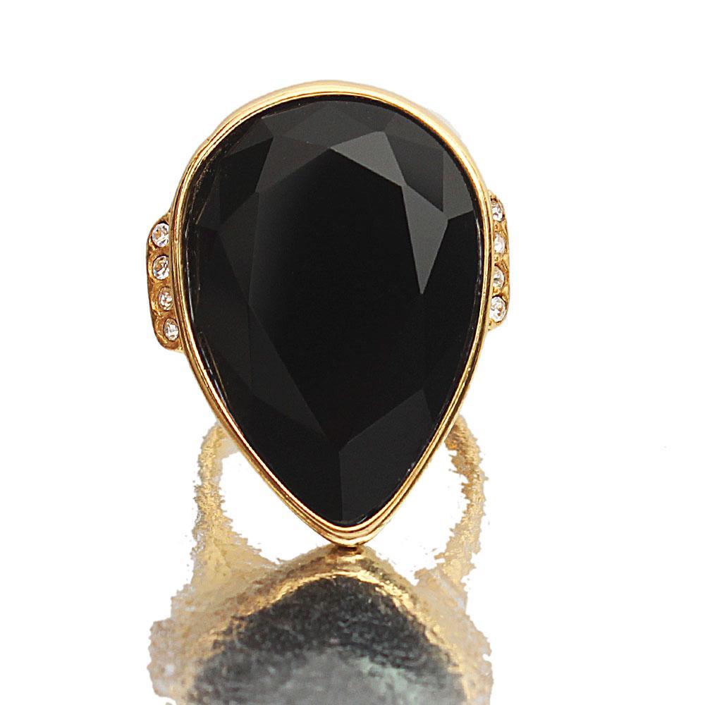 Gold Steel Black Classic Ladies Ring