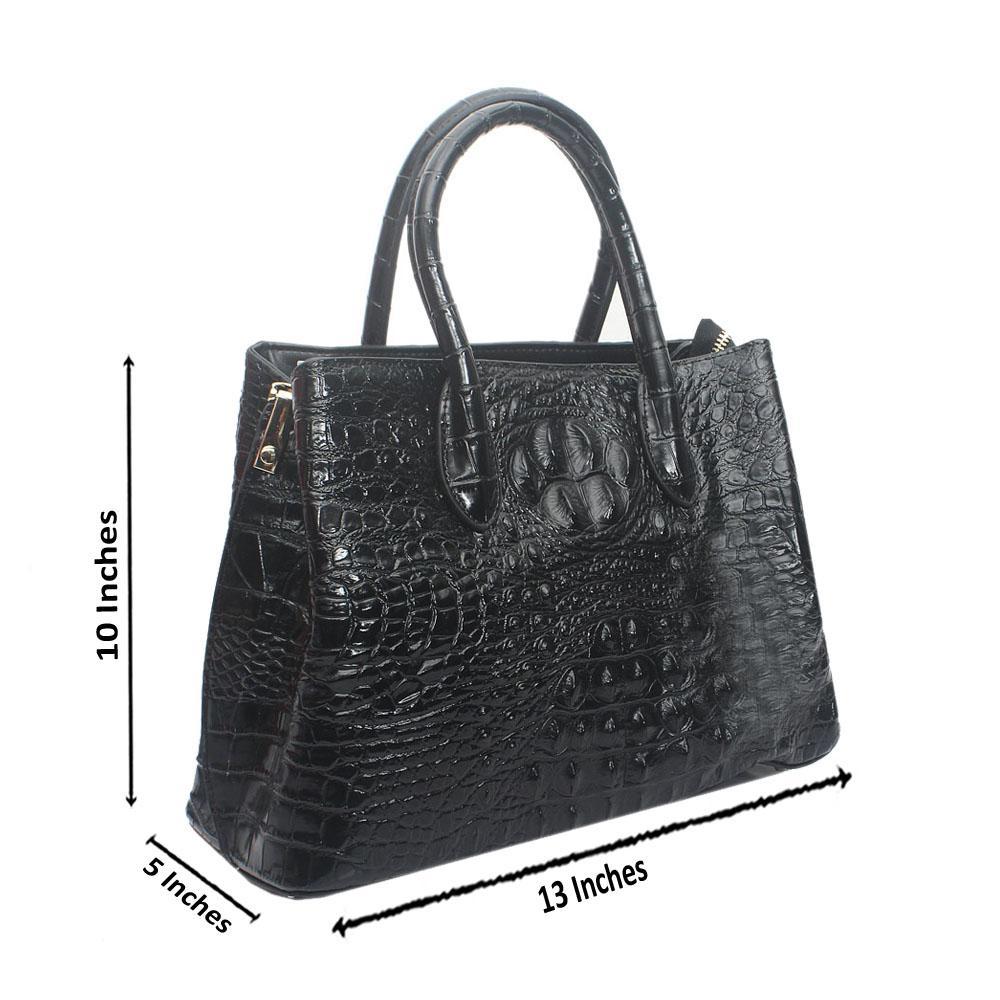 Black Premium Embossed Croc Saffiano LeatherHandbag