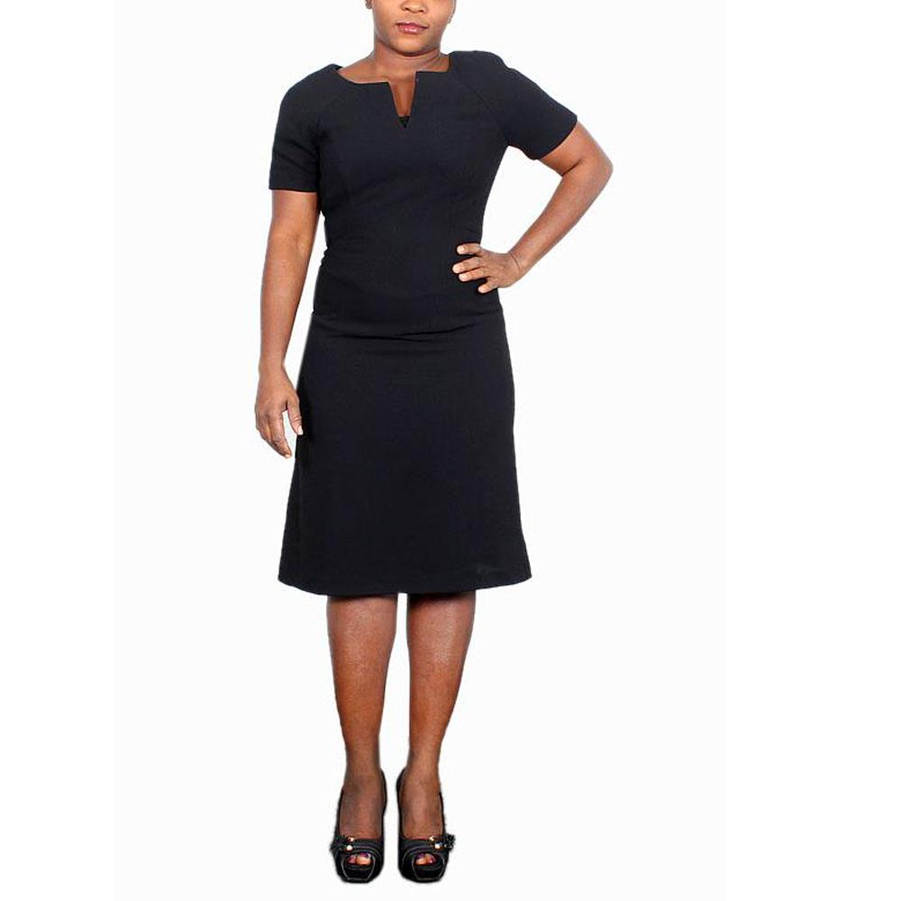 M&S Black Short Sleeve Ladies Dress-UK 8