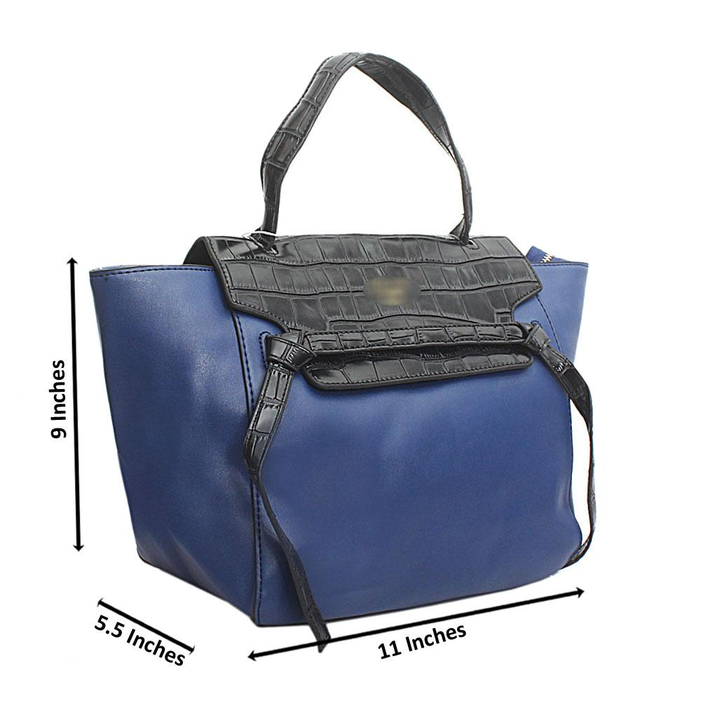 Croc-Black-Blue-Leather-Medium-Belt-Top-Handle-Handbag