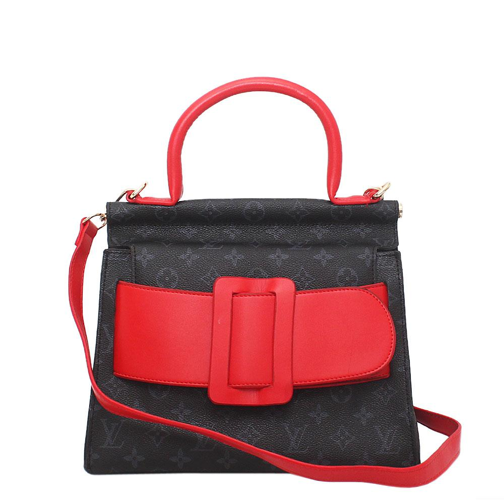 Black Red Leather Medium Belt Handle Bag