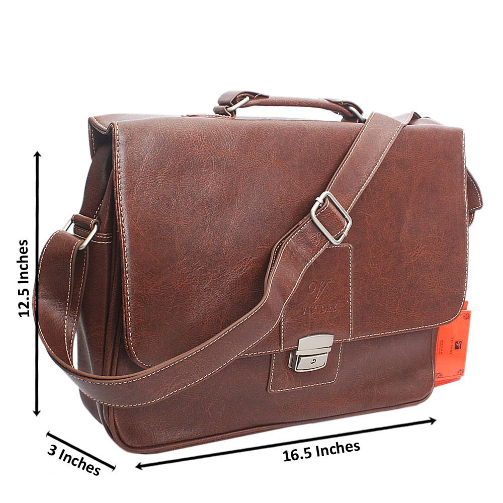 Brown Clip Leather Briefcase