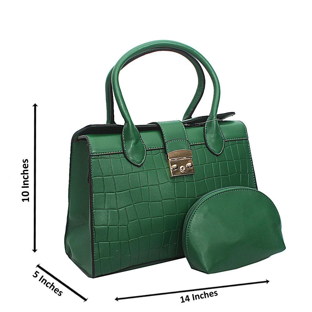 Green Lotti Smooth Croc Leather Tote Handbag