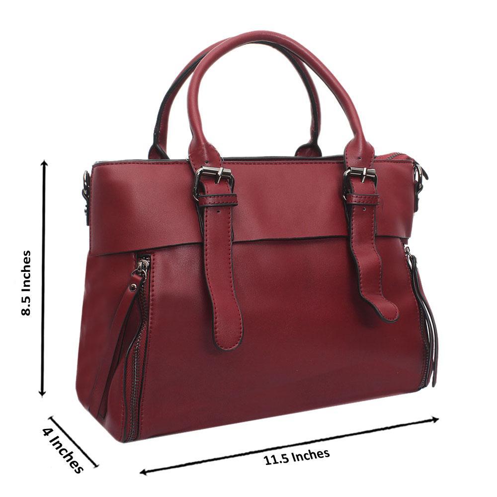 Wine Leather Medium Dainty Bag