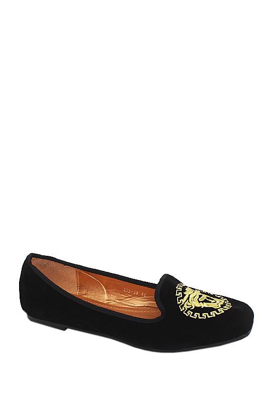 Versace Black Suede Flat Shoe
