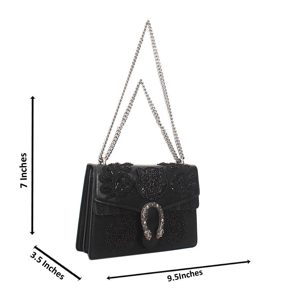 Black Flora Embroidery Saffiano Leather Chain Crossbody Handbag