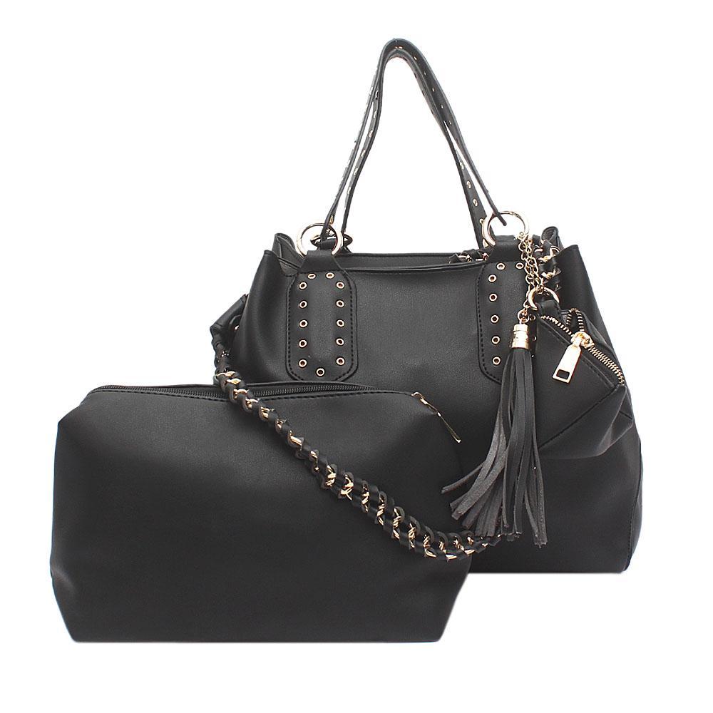 London Style Black Leather Handbag   Wt Purse