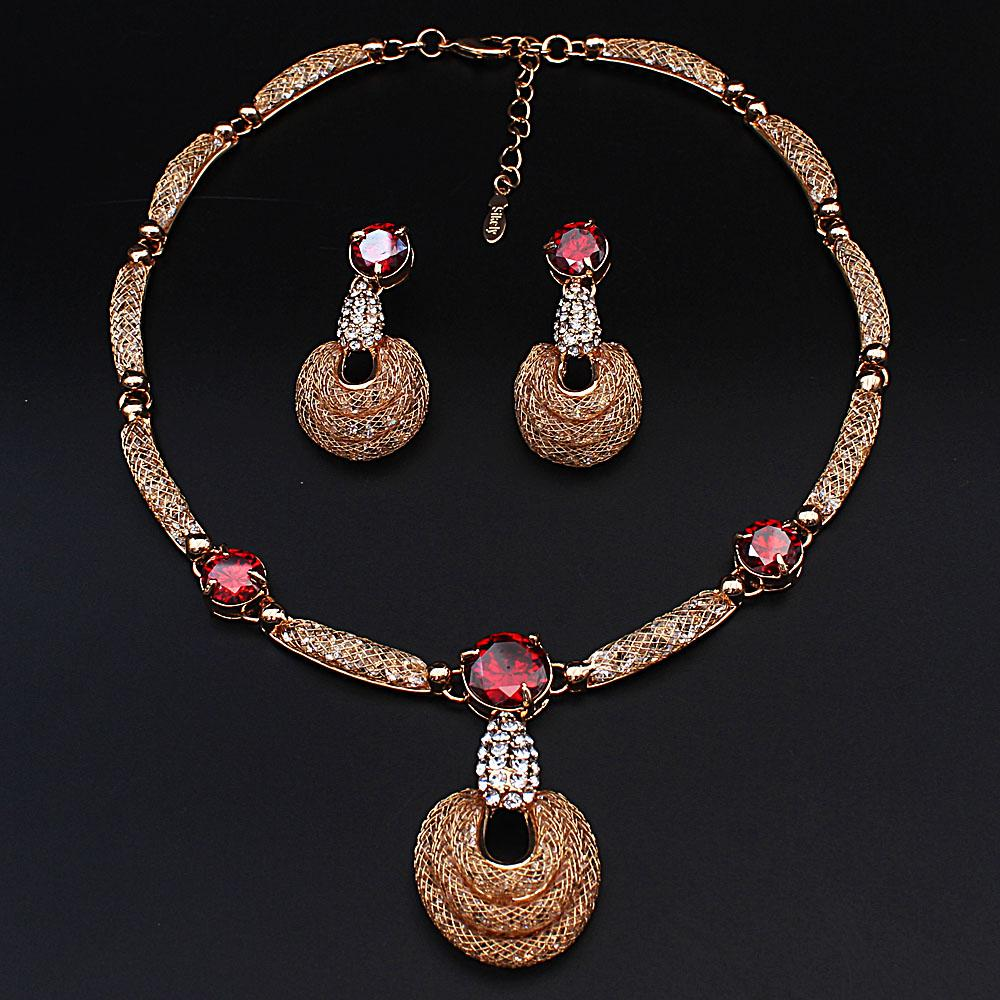 Diane Ross Sterling Gold Red Stones Ice Stones Necklace and Earrings Set