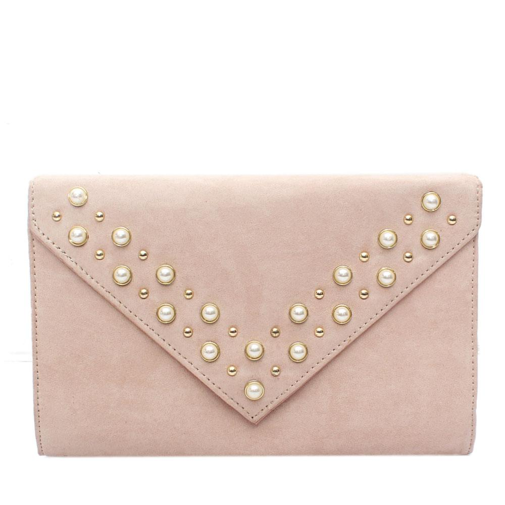 Beige Virgo Studded Leather Flat Purse