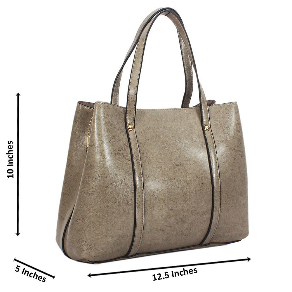Gray Bella Smooth Leather Tote Handbag