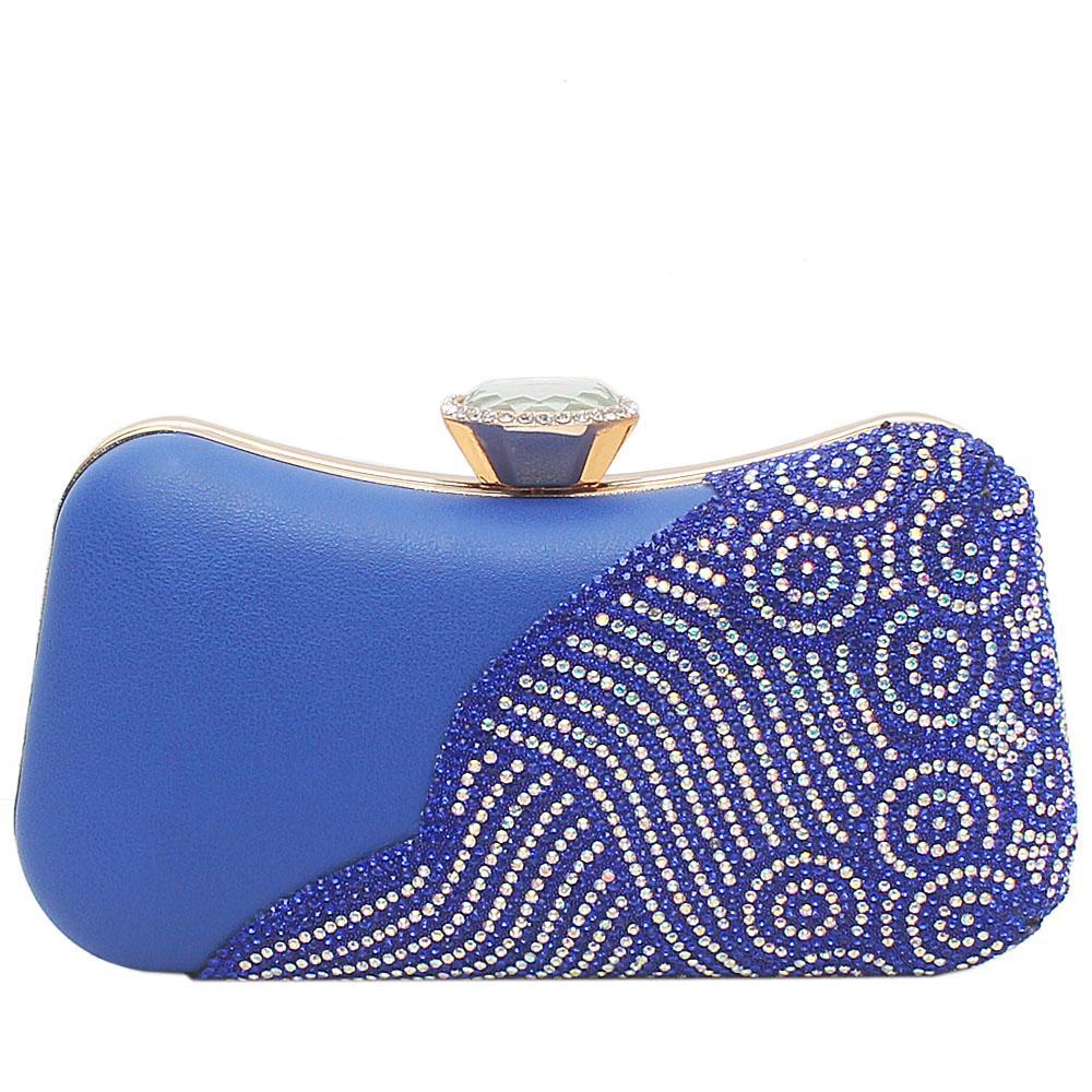 Royal Blue Leather Studded Premium Hard Clutch