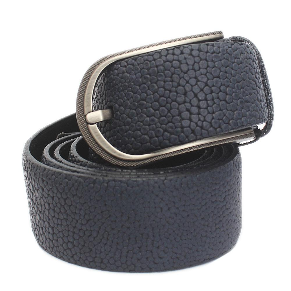 Navy Blue Classic Embossed Italian Leather Flat Belt L 42 Inches