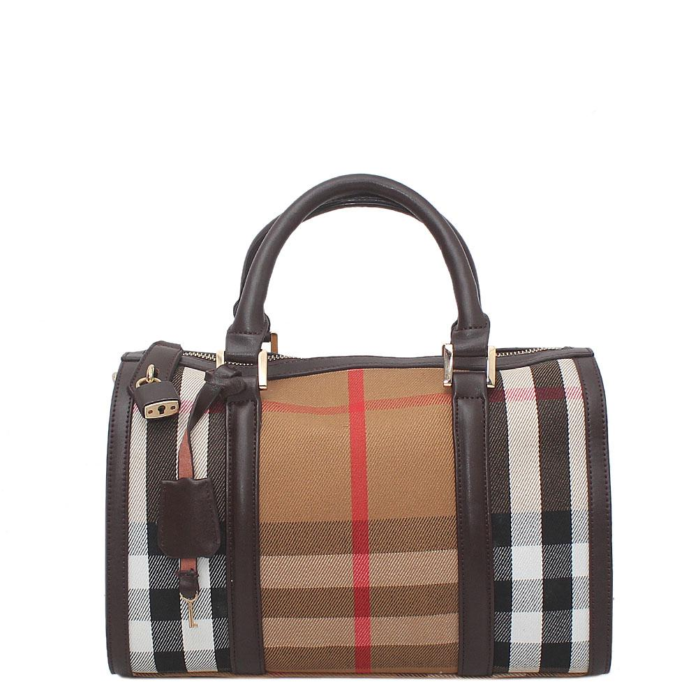 Brown Fabric Leather Boston Handbag