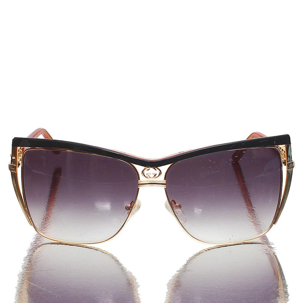 Gold Black Square Face Dark Lens Sunglasses