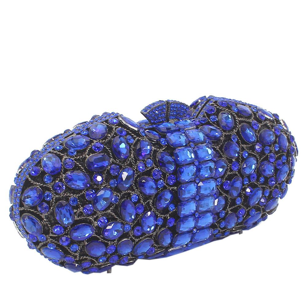 Royal Blue Stone Embellished Diamante Crystal Clutch Purse