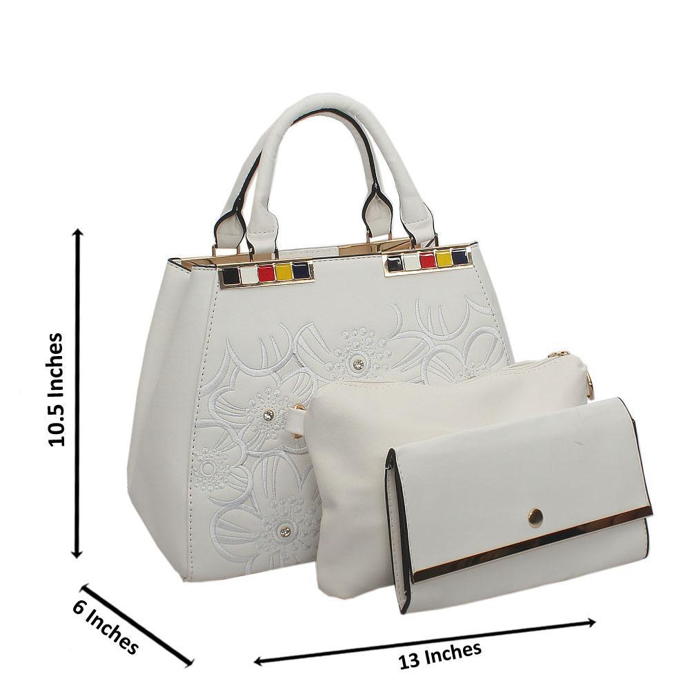 White Arabella Tuscany Leather Top Handle Handbag