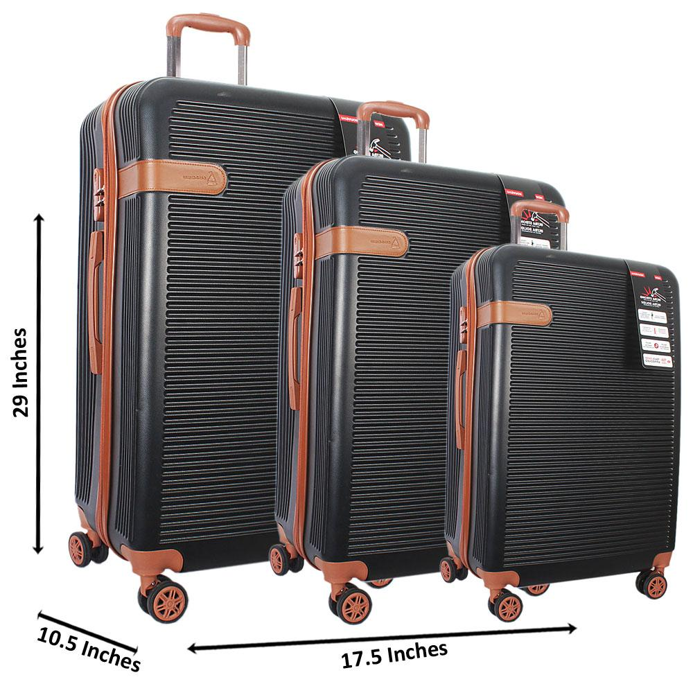 Black 29 inch Wt 25 and 21 Inch 3 in 1 ABS Shell Luggage Set Wt TSA Lock