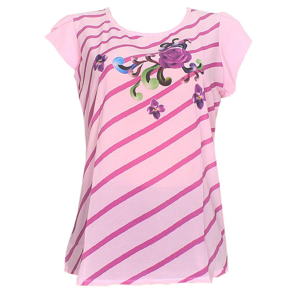Pink Floral Print Chiffon S/Sleeve Ladies Top