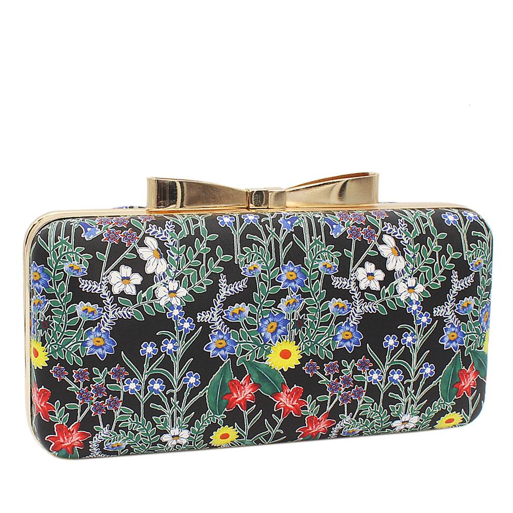 Black Green Floral Print Leather Clutch Purse
