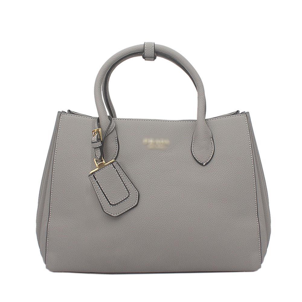 Gray Milano Leather Tote Bag