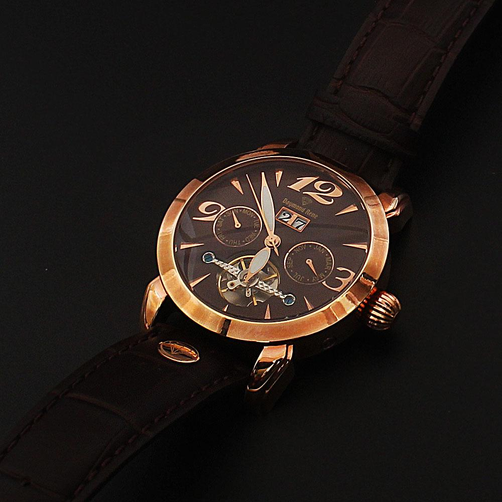 Daymond Rene 10 ATM Gold Brown Leather  Automatic Watch
