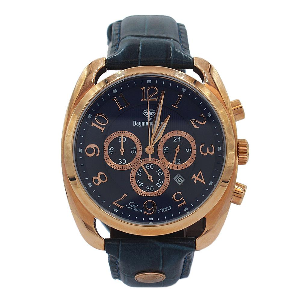 DR 10ATM Rose Gold Navy Leather Chronograph Watch