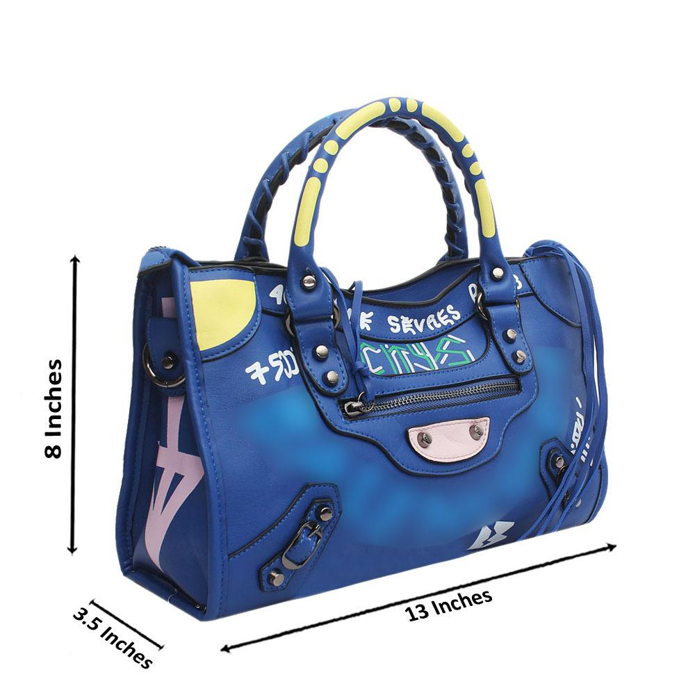 Blue Leather Small City Bae Tote Handbag