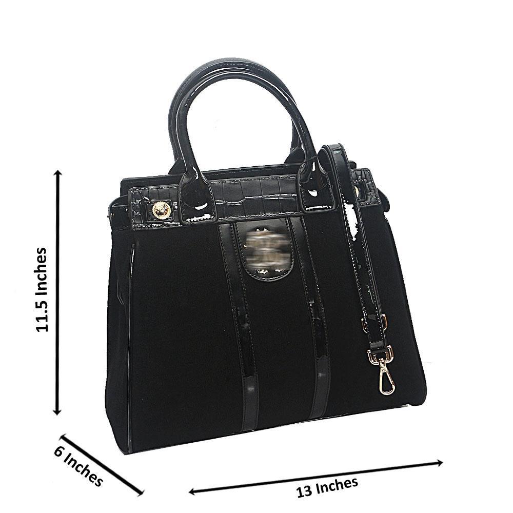 Black Croc Suede Saffiano Leather Tote Handbag