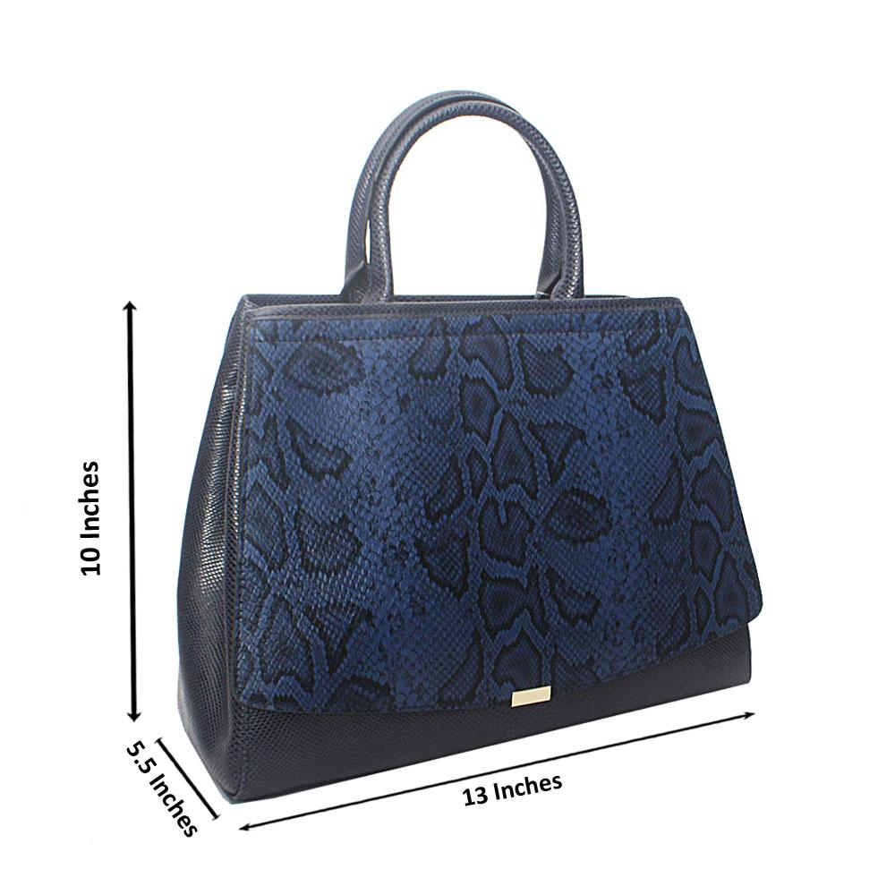 Timonne Navy Snake Montana Leather Handbag