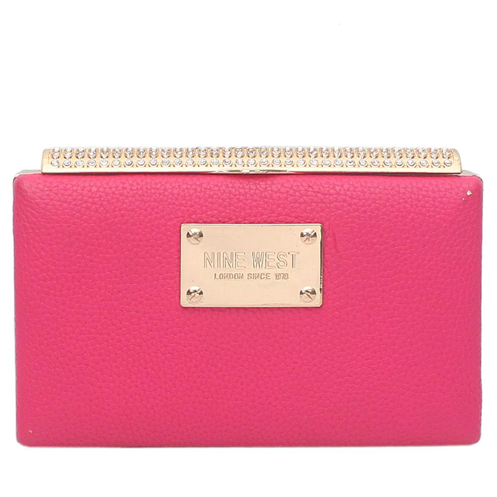 Pink Leather Clutch Purse Wt Minor Peel
