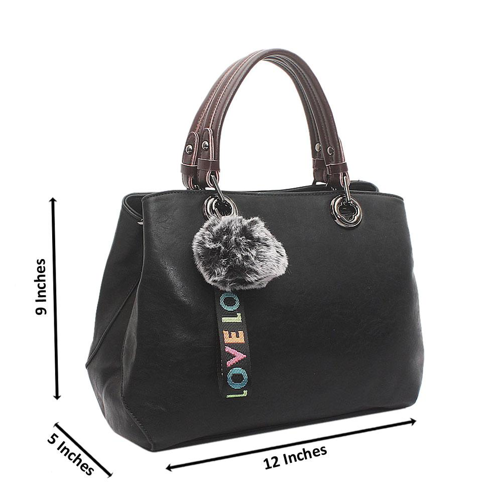 Black Love Medium Leather Handbag