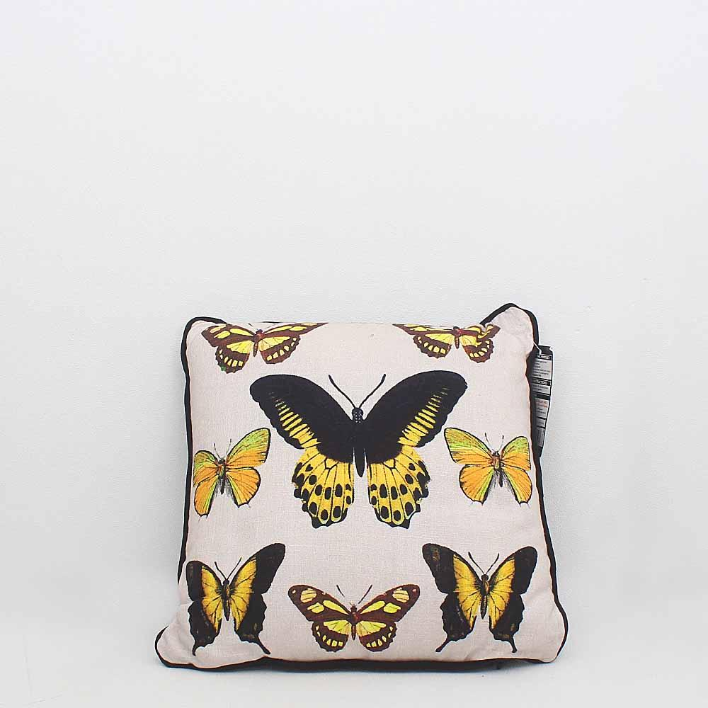 George Home Black Cream Cotton Small Pillow