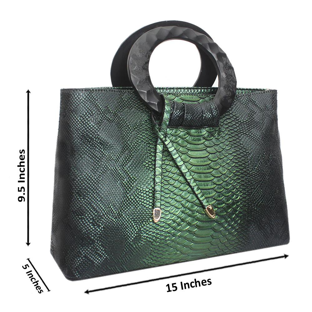 Green Skin Leather Medium Exquisite Handbag