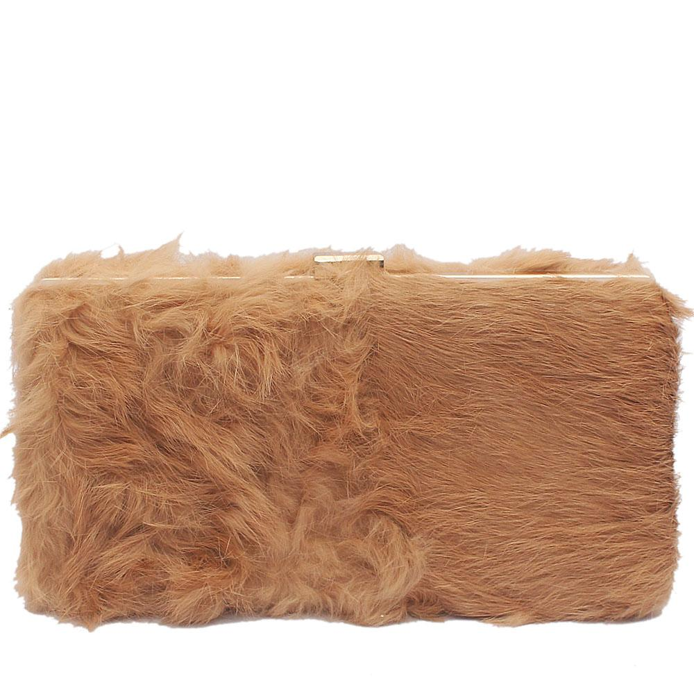 Large Brown Hairy Clutch Purse
