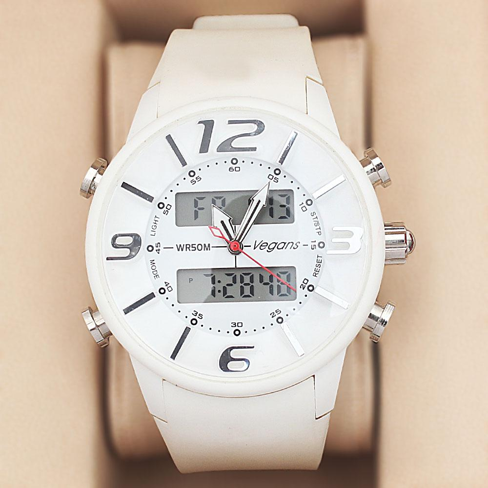 Vegans White Rubber 5 ATM Water Resistant Analog-Digital Watch