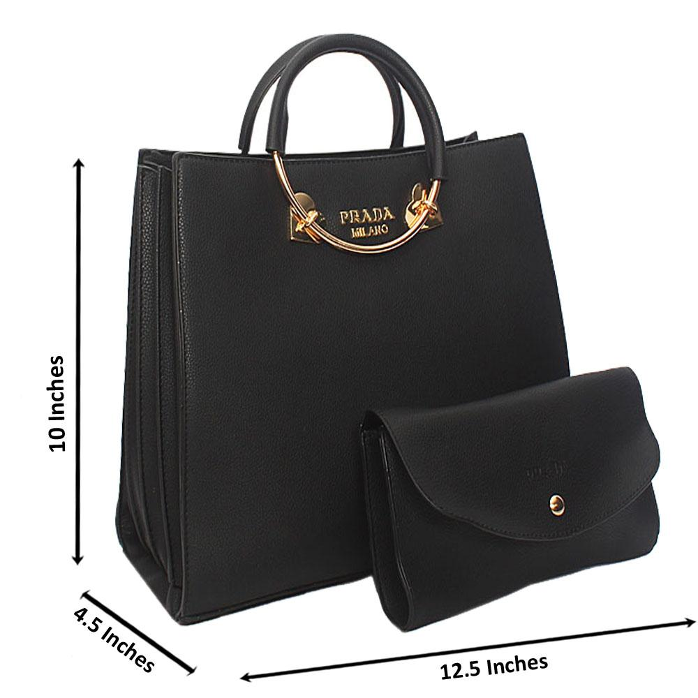 Black Natalie Leather Metal Handle Tote Handbag