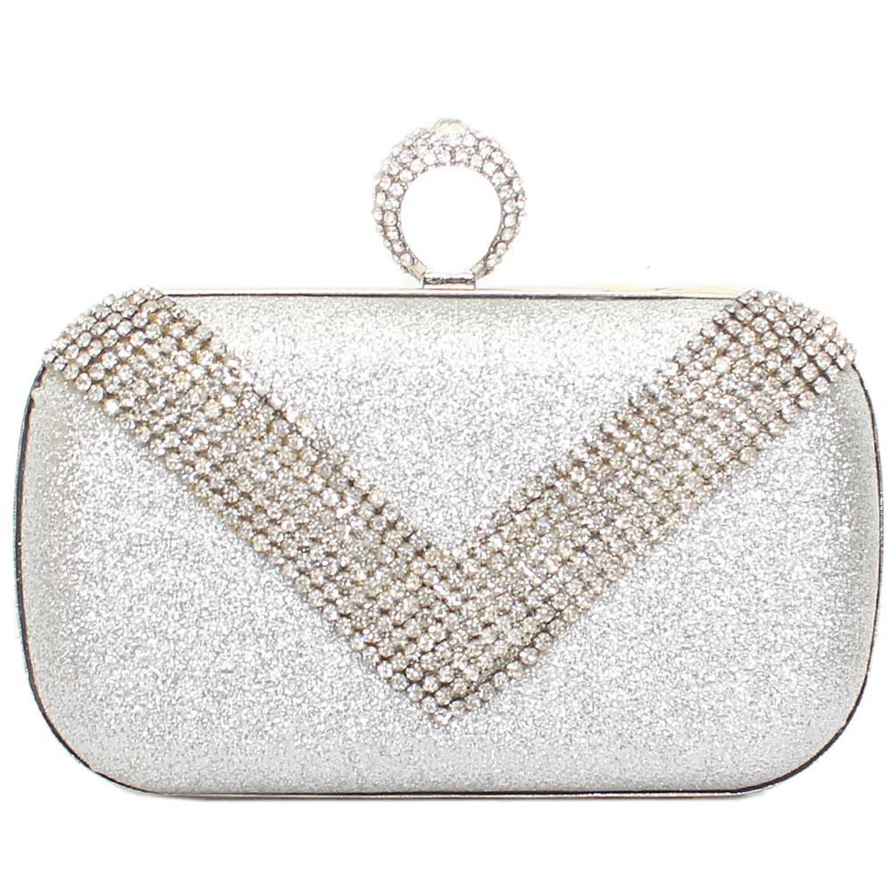 Silver Studded Avalon Shimmering Hard Clutch Purse