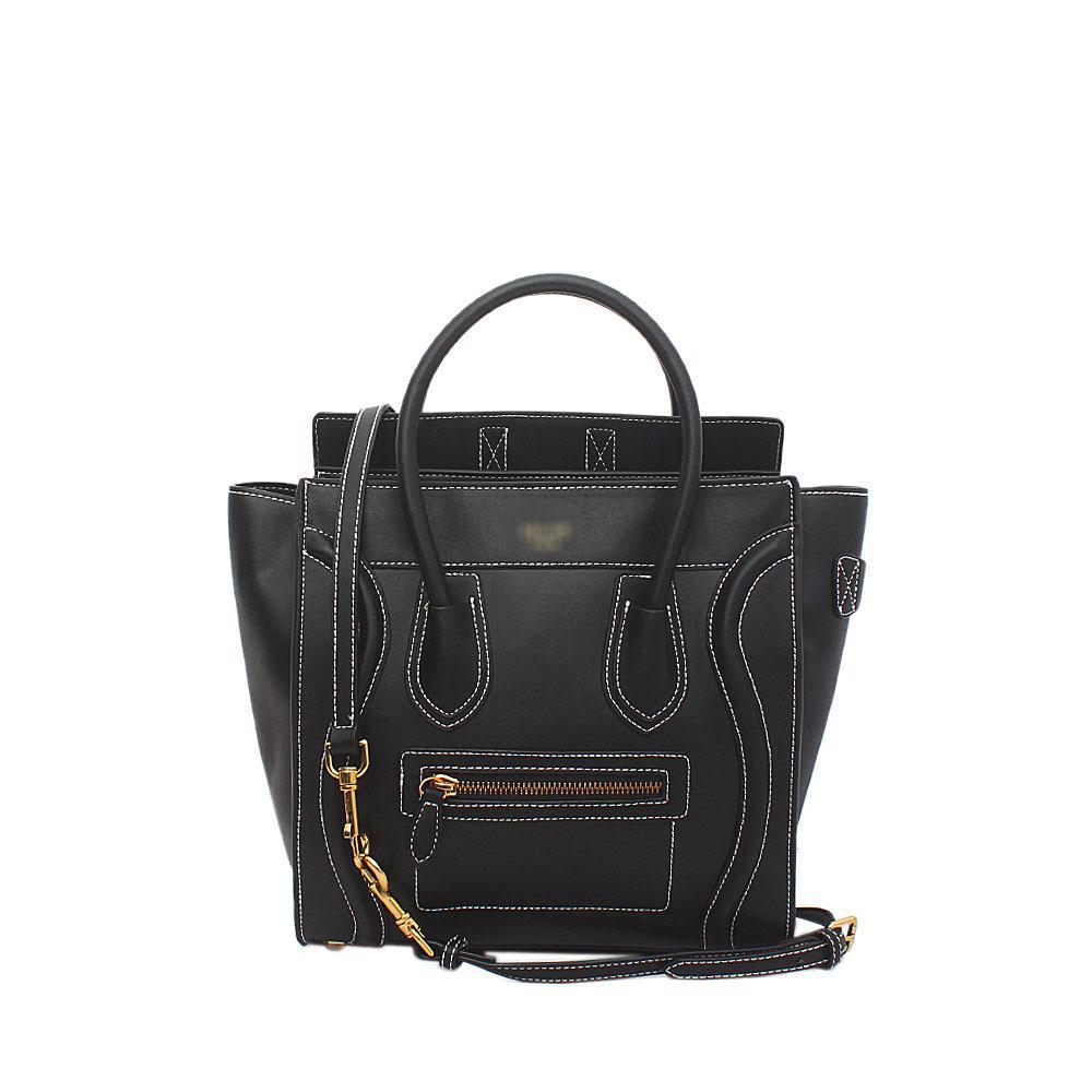 Black Calfskin Leather Micro Luggage Bag