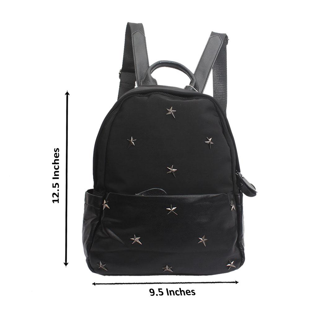 Black Fabric Leather Star Backpack