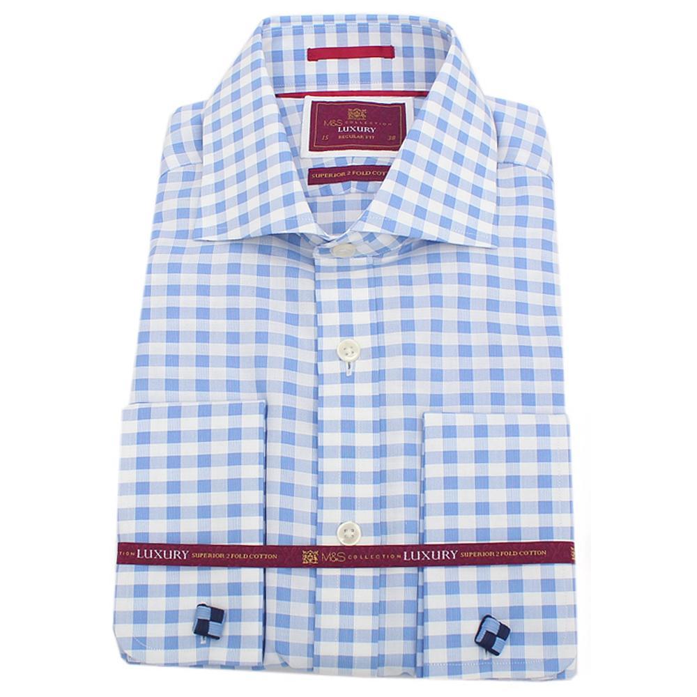 M&S Blue White Check L/Sleeve Regular Fit Men Shirt wt Cuffs