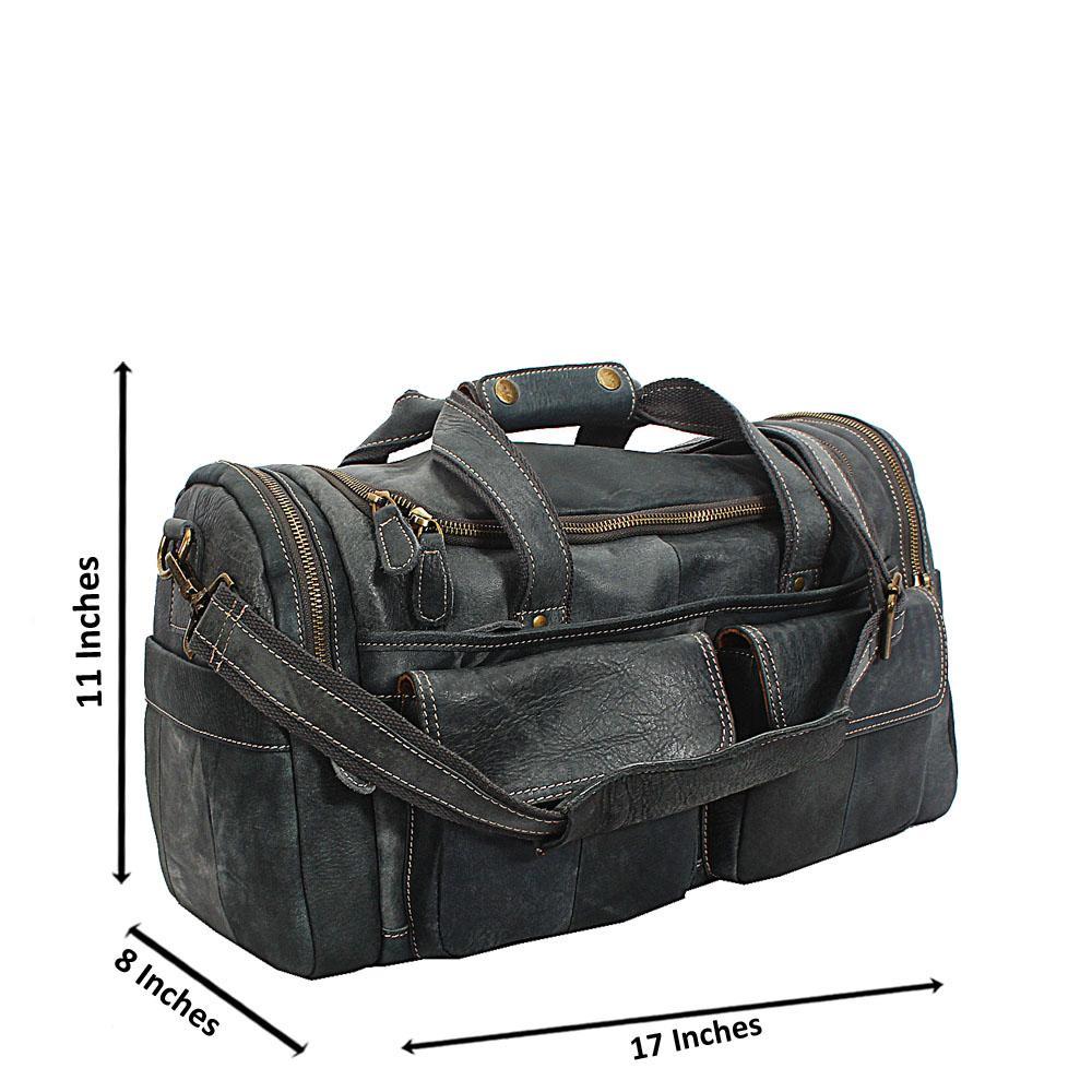 Navy Blue Cowhide Leather Duffel Bag