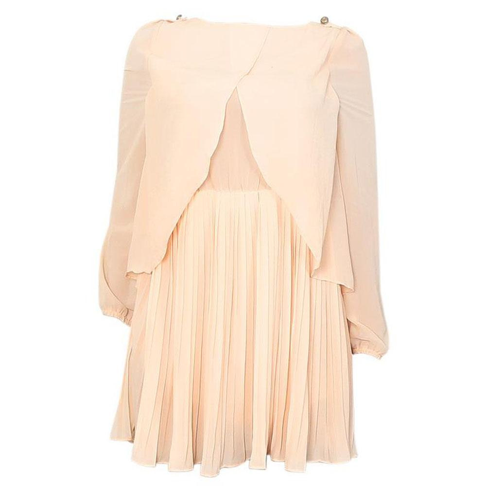 Miso  Peach Ladies Short Chiffon Dress Sz M